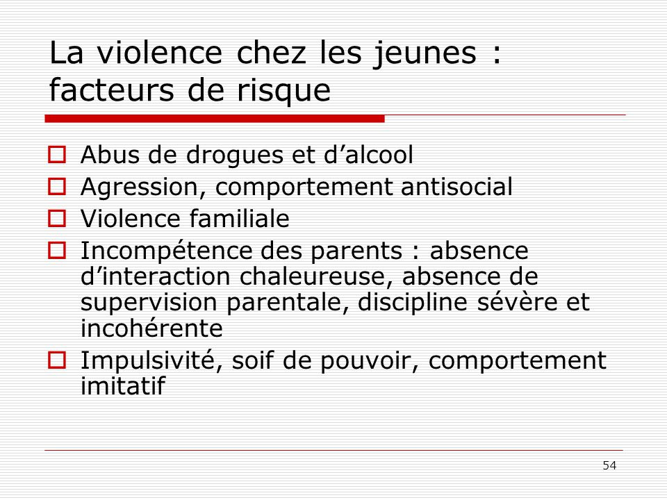 La violence chez les jeunes : facteurs de risque