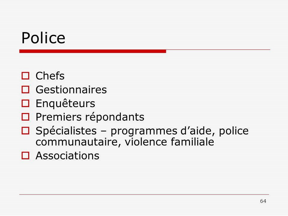 Police Chefs Gestionnaires Enquêteurs Premiers répondants