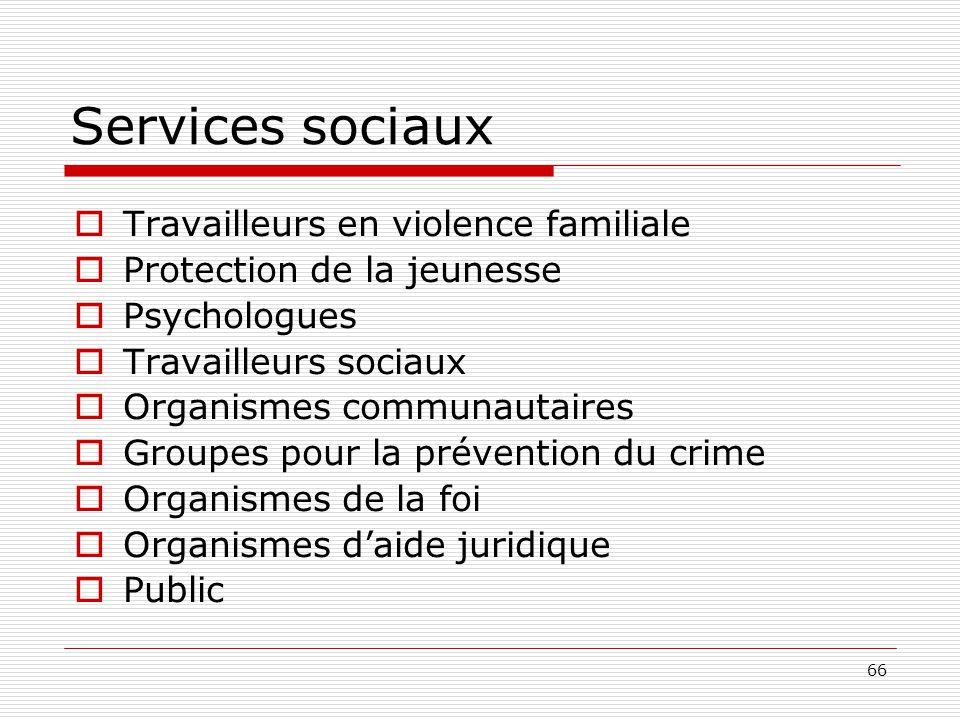 Services sociaux Travailleurs en violence familiale