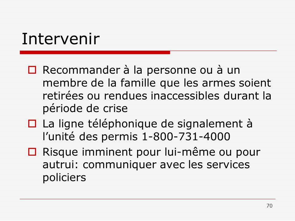 Intervenir Recommander à la personne ou à un membre de la famille que les armes soient retirées ou rendues inaccessibles durant la période de crise.