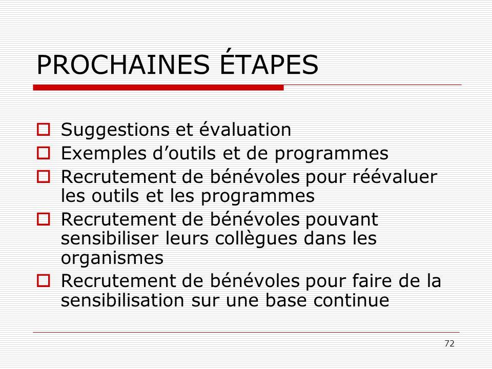 PROCHAINES ÉTAPES Suggestions et évaluation