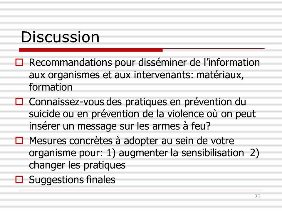 Discussion Recommandations pour disséminer de l'information aux organismes et aux intervenants: matériaux, formation.