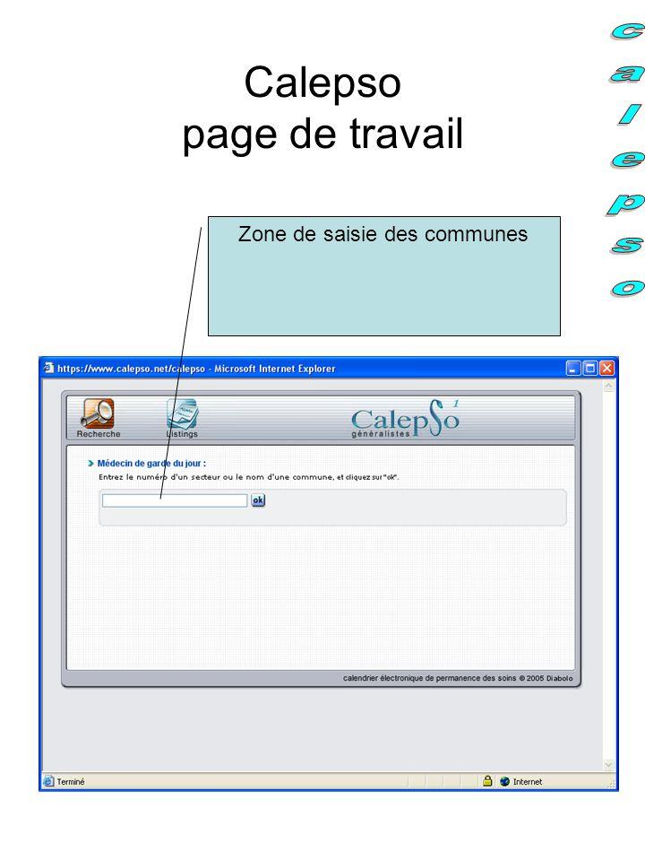 Calepso page de travail
