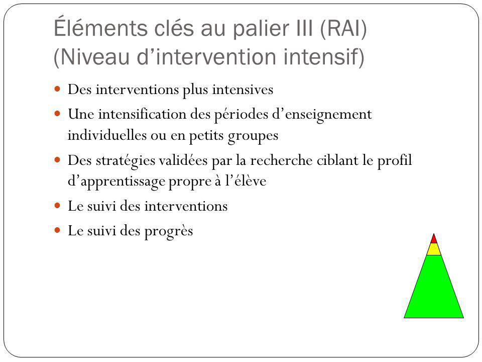 Éléments clés au palier III (RAI) (Niveau d'intervention intensif)