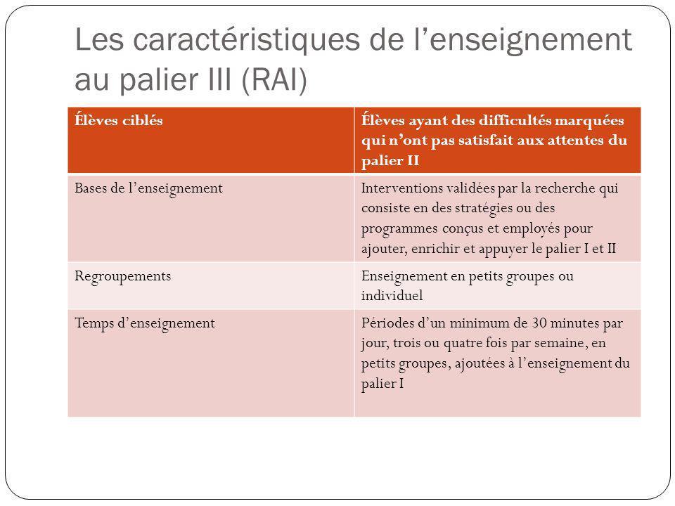 Les caractéristiques de l'enseignement au palier III (RAI)