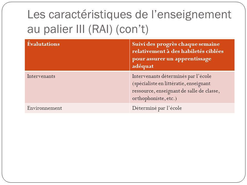 Les caractéristiques de l'enseignement au palier III (RAI) (con't)