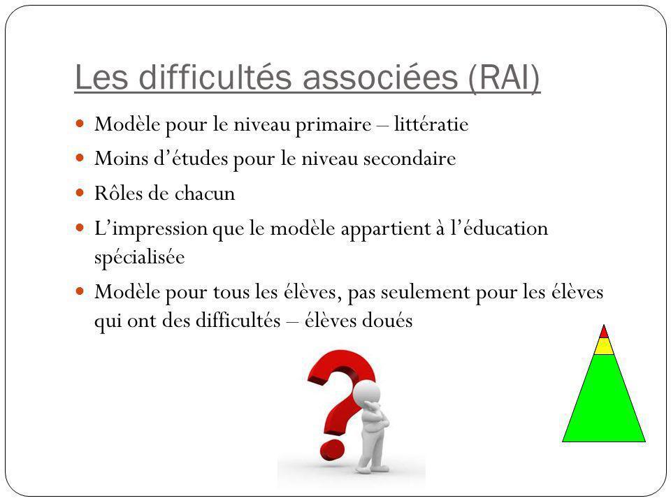 Les difficultés associées (RAI)