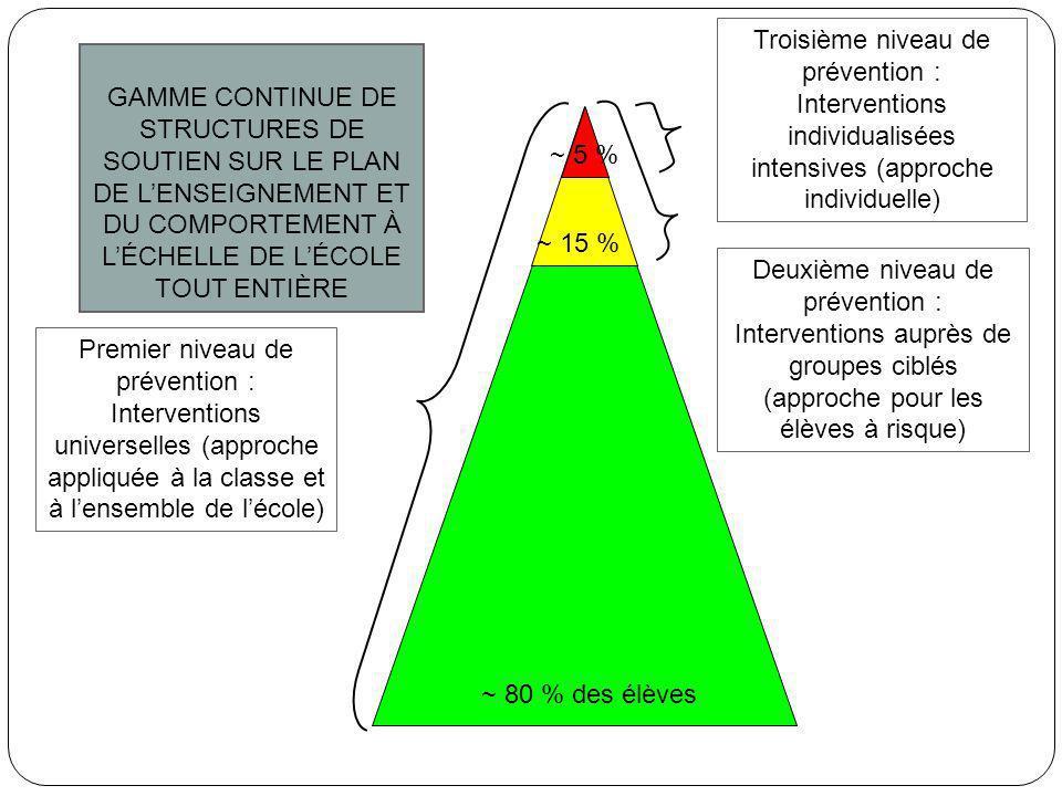 Troisième niveau de prévention : Interventions individualisées intensives (approche individuelle)