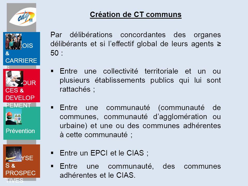 Création de CT communs Par délibérations concordantes des organes délibérants et si l'effectif global de leurs agents ≥ 50 :