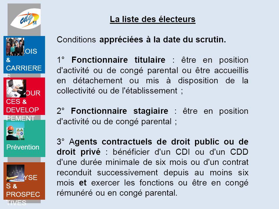 La liste des électeurs Conditions appréciées à la date du scrutin.