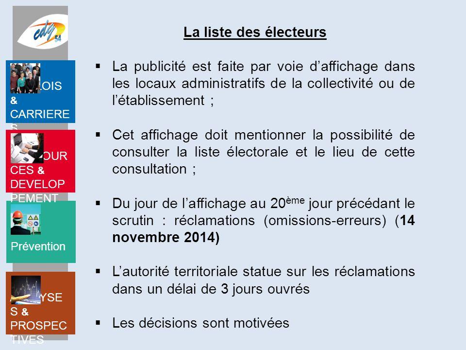 La liste des électeurs La publicité est faite par voie d'affichage dans les locaux administratifs de la collectivité ou de l'établissement ;