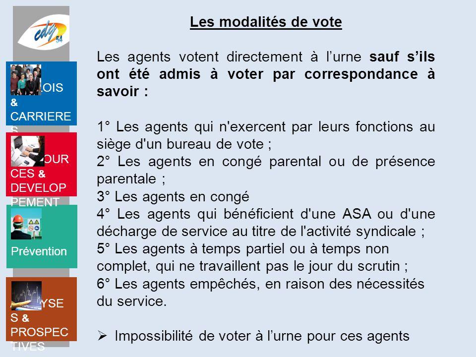Les modalités de vote Les agents votent directement à l'urne sauf s'ils ont été admis à voter par correspondance à savoir :