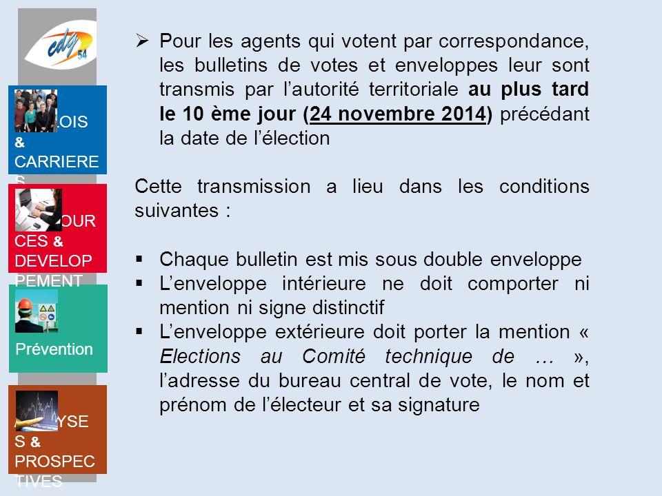 Pour les agents qui votent par correspondance, les bulletins de votes et enveloppes leur sont transmis par l'autorité territoriale au plus tard le 10 ème jour (24 novembre 2014) précédant la date de l'élection