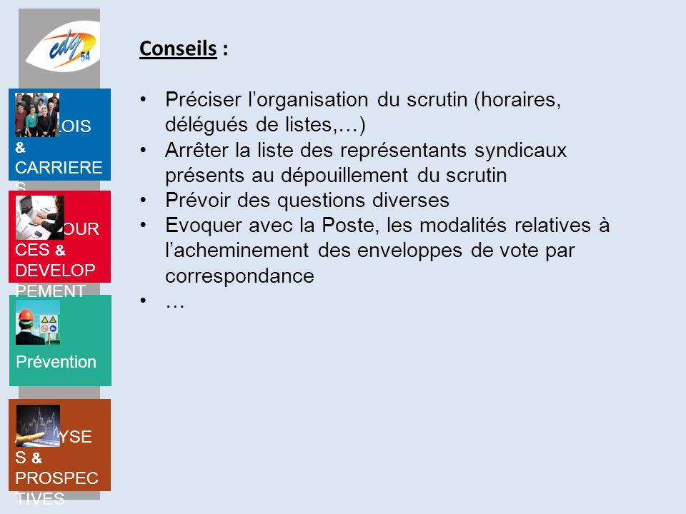 Conseils : Préciser l'organisation du scrutin (horaires, délégués de listes,…)