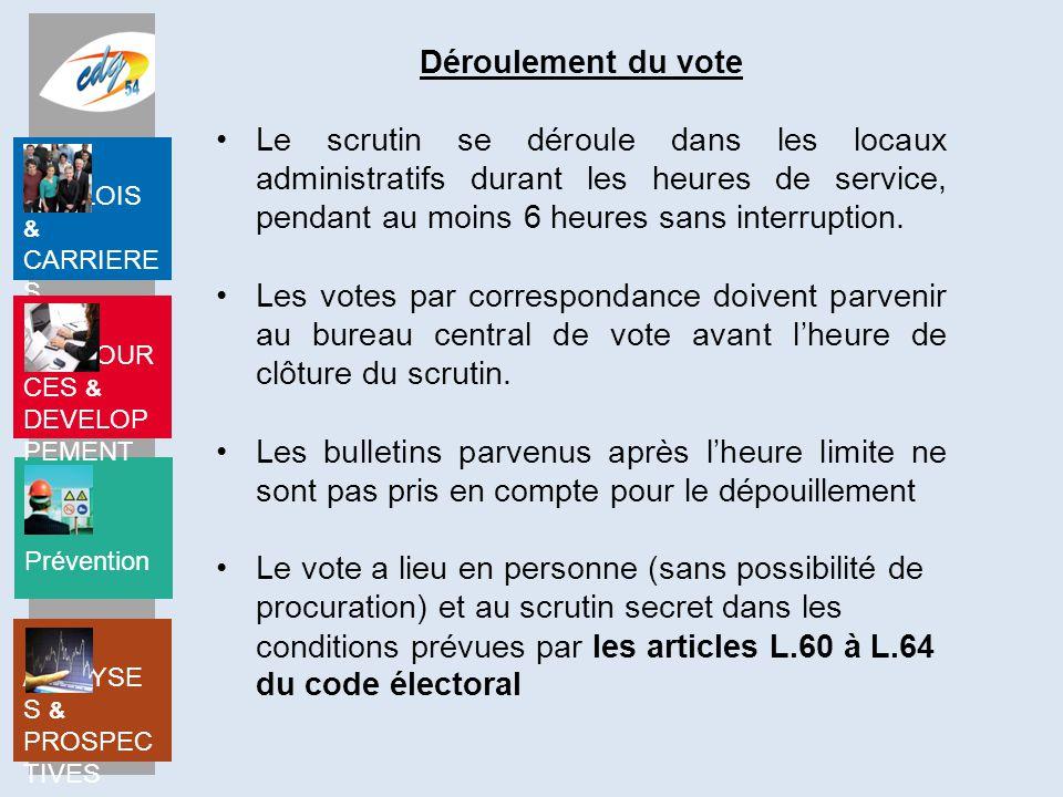 Déroulement du vote Le scrutin se déroule dans les locaux administratifs durant les heures de service, pendant au moins 6 heures sans interruption.