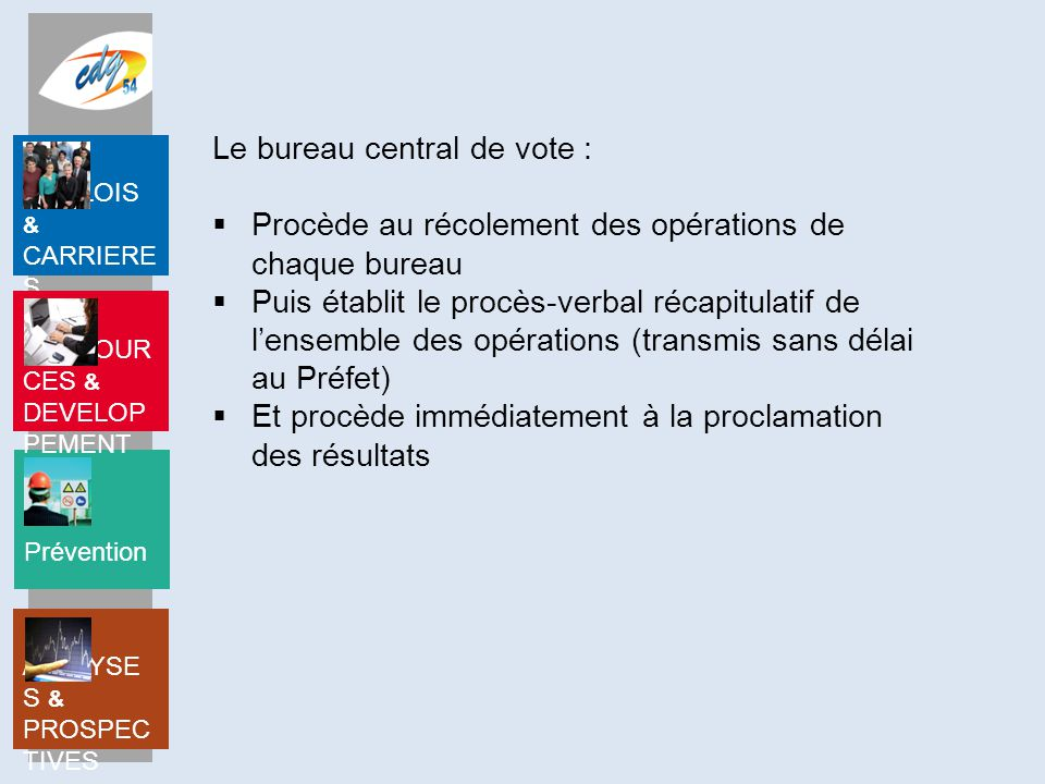 Le bureau central de vote :