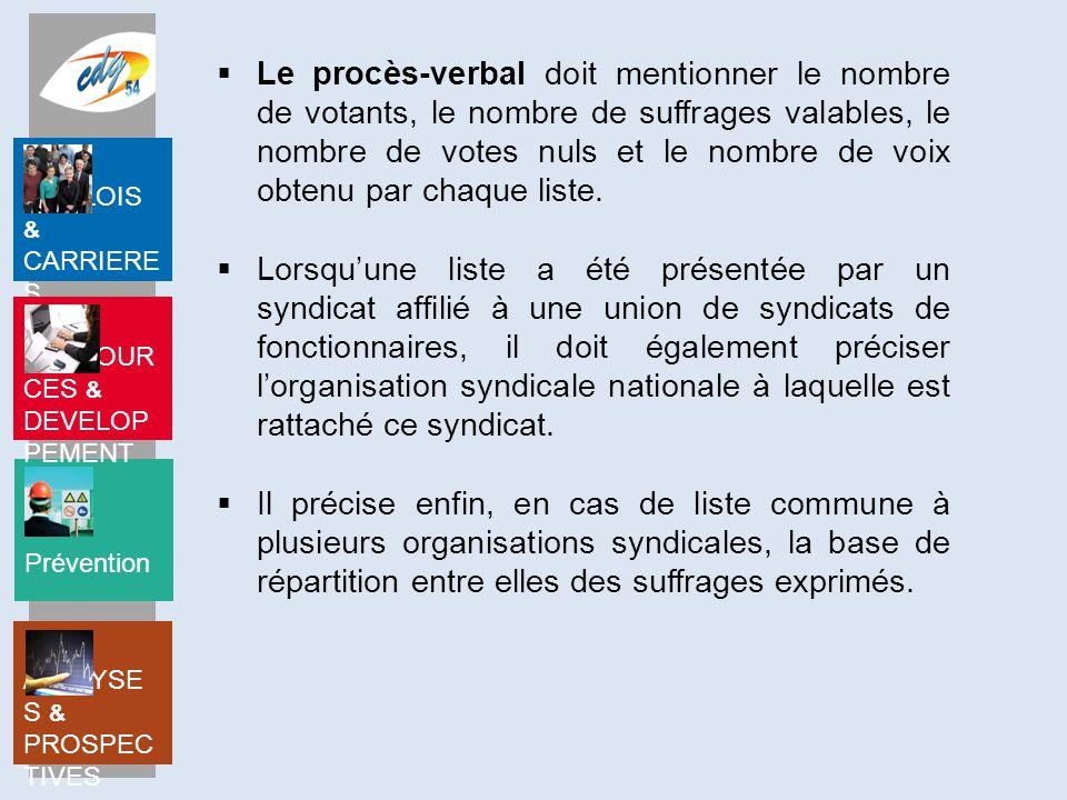 Le procès-verbal doit mentionner le nombre de votants, le nombre de suffrages valables, le nombre de votes nuls et le nombre de voix obtenu par chaque liste.