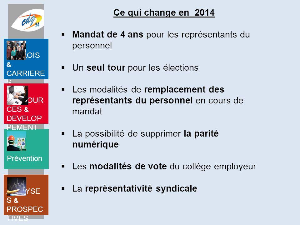 Ce qui change en 2014 Mandat de 4 ans pour les représentants du personnel. Un seul tour pour les élections.