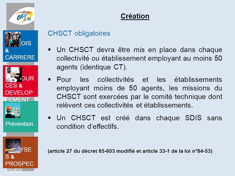 Un CHSCT est créé dans chaque SDIS sans condition d'effectifs.