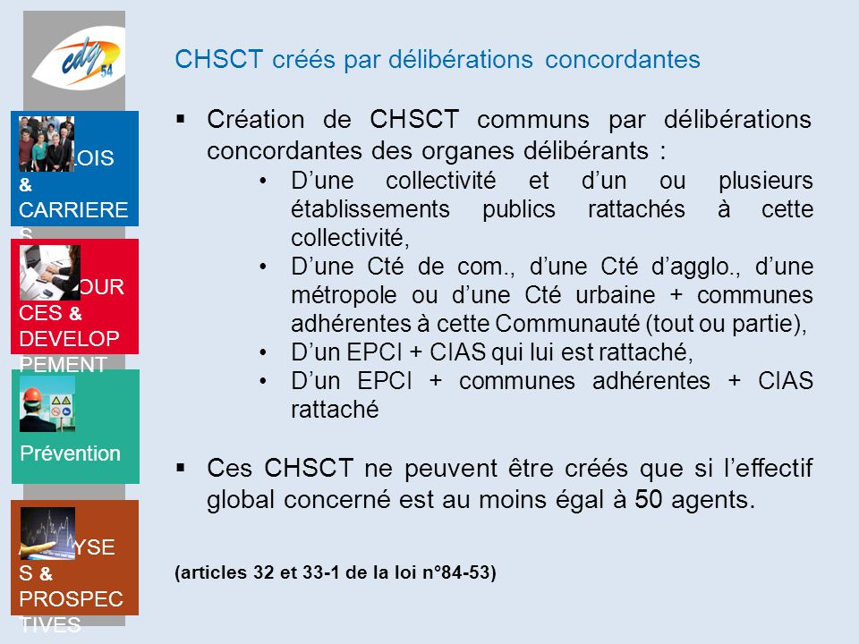 CHSCT créés par délibérations concordantes