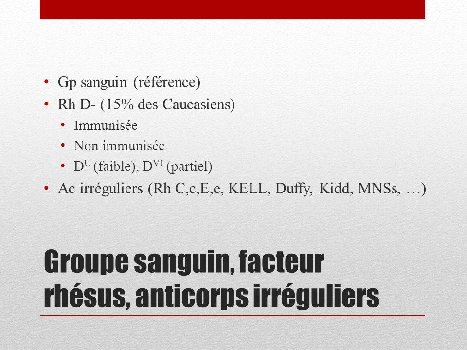 Groupe sanguin, facteur rhésus, anticorps irréguliers