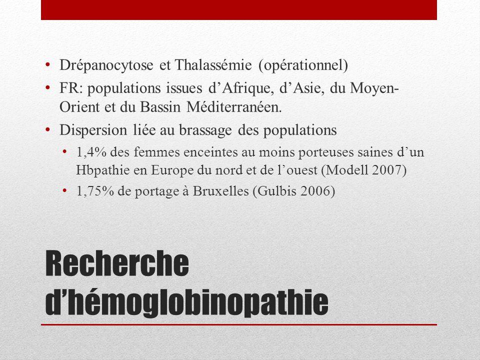 Recherche d'hémoglobinopathie