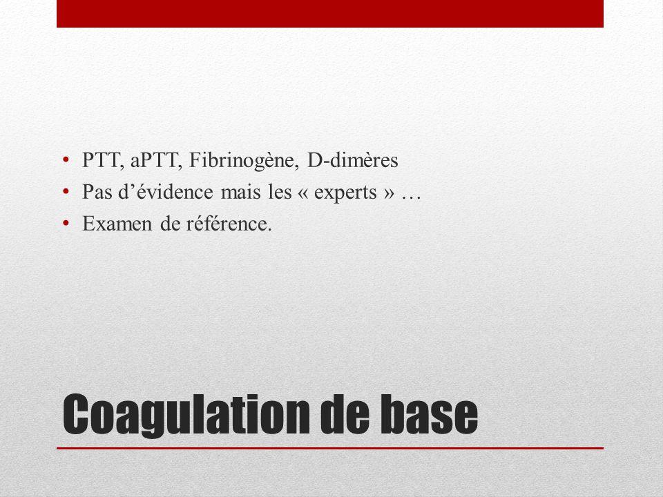 Coagulation de base PTT, aPTT, Fibrinogène, D-dimères