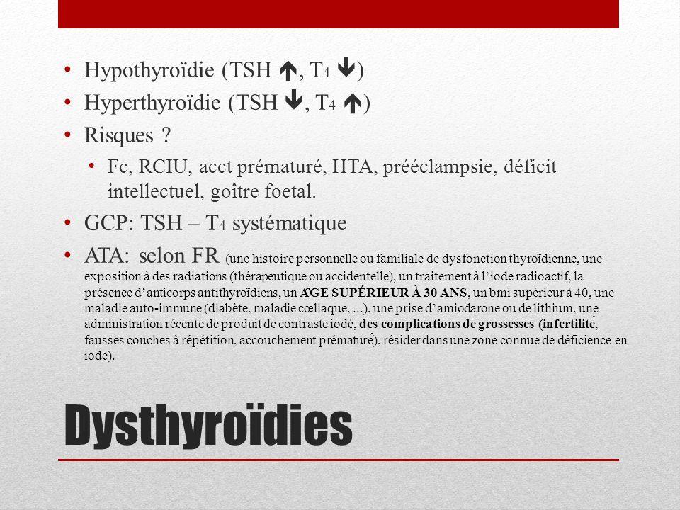 Dysthyroïdies Hypothyroïdie (TSH , T4 ) Hyperthyroïdie (TSH , T4 )