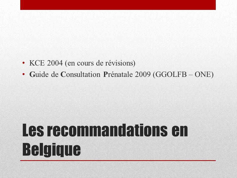 Les recommandations en Belgique
