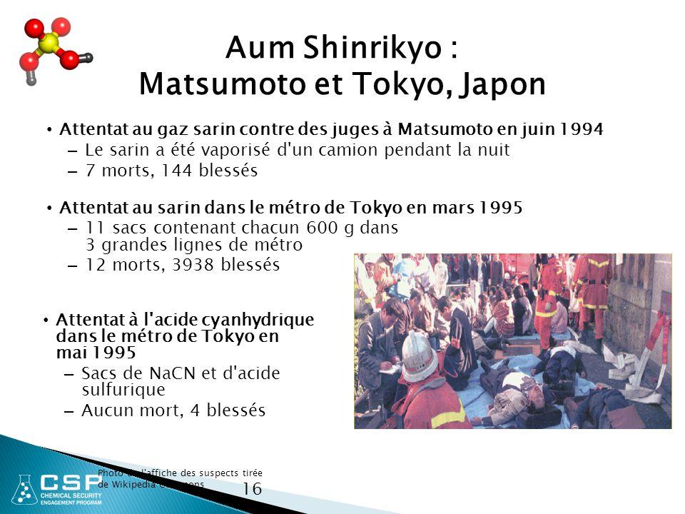 Aum Shinrikyo : Matsumoto et Tokyo, Japon