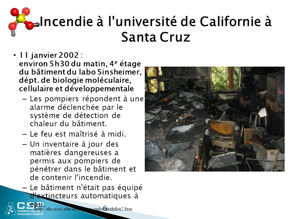 Incendie à l université de Californie à Santa Cruz