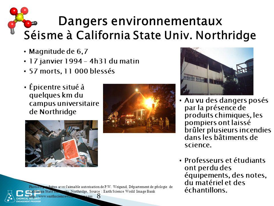 Dangers environnementaux Séisme à California State Univ. Northridge