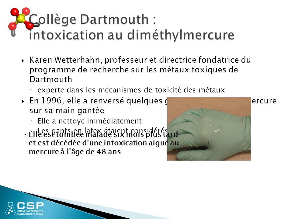 Collège Dartmouth : intoxication au diméthylmercure