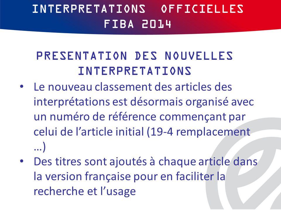INTERPRETATIONS OFFICIELLES FIBA 2014