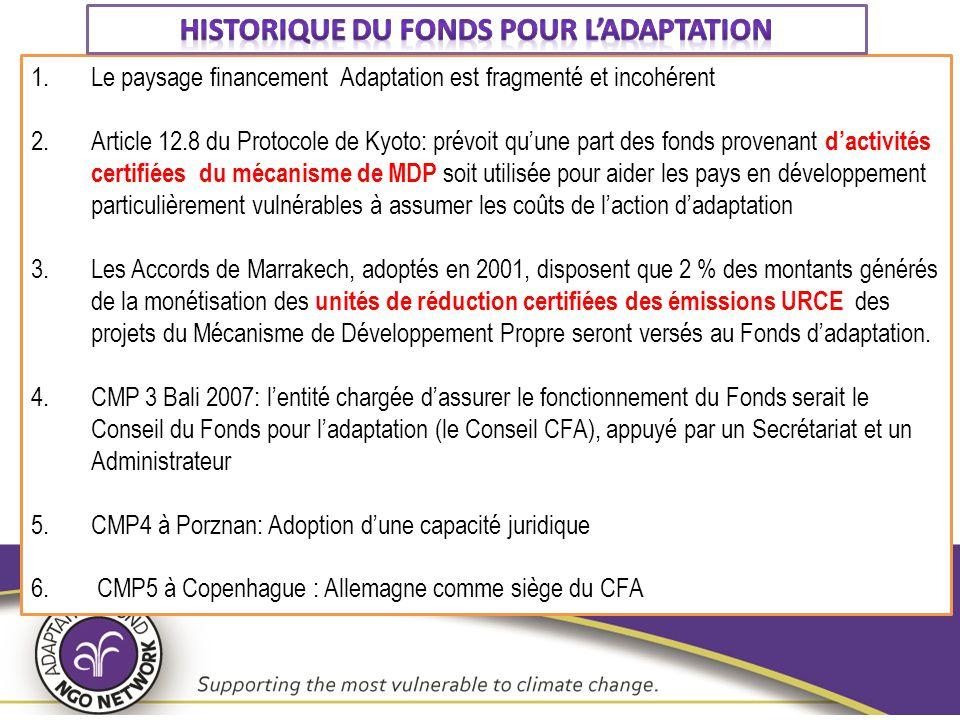 Historique du Fonds pour l'adaptation