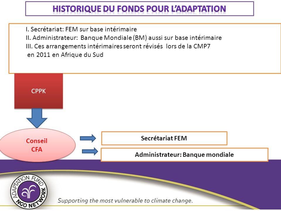 Historique du Fonds pour l'adaptation Administrateur: Banque mondiale