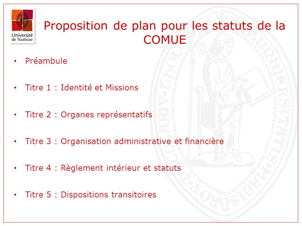 Proposition de plan pour les statuts de la COMUE