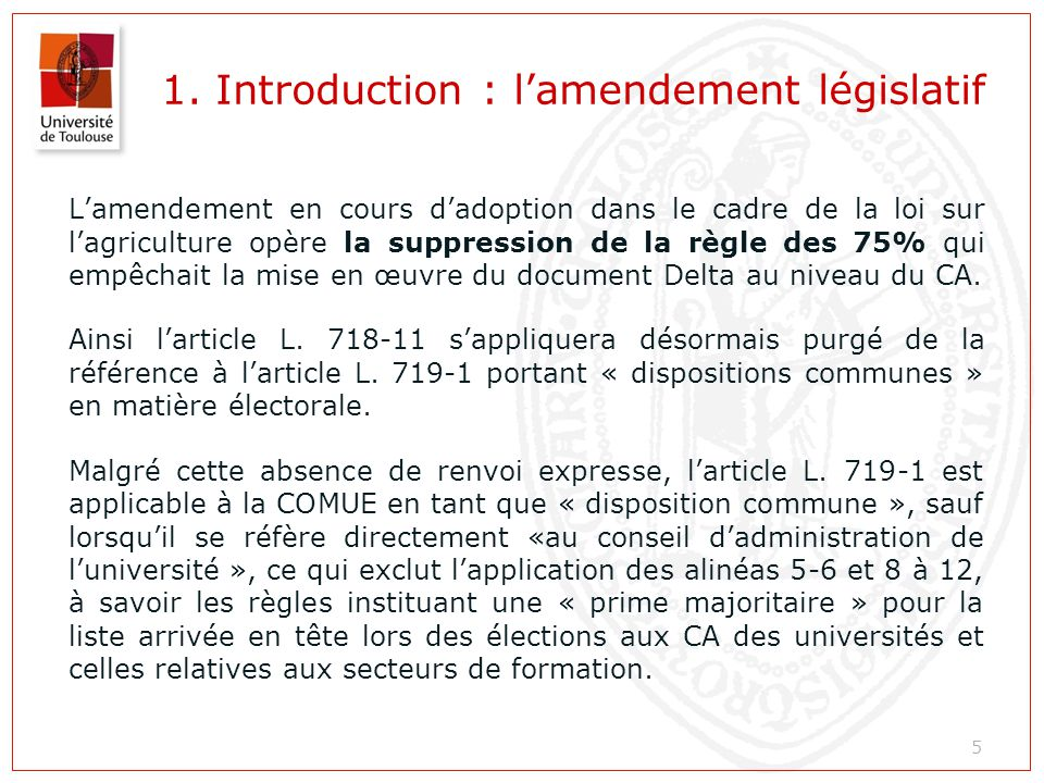 1. Introduction : l'amendement législatif