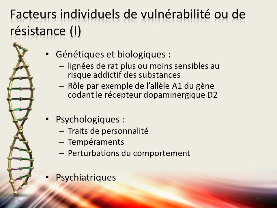 Facteurs individuels de vulnérabilité ou de résistance (I)