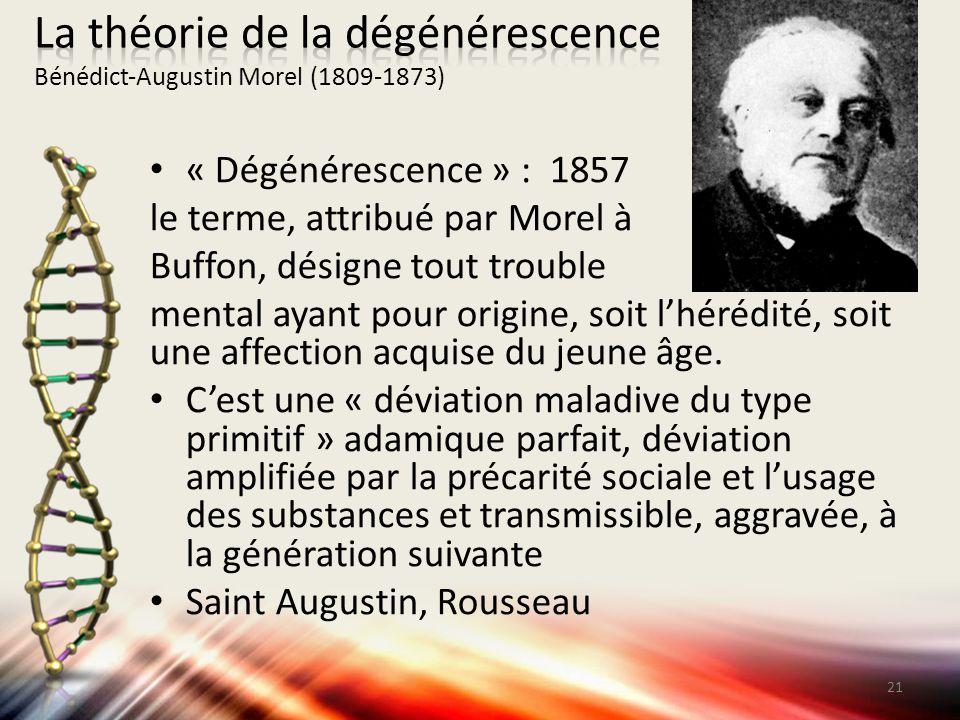 La théorie de la dégénérescence Bénédict‐Augustin Morel (1809‐1873)