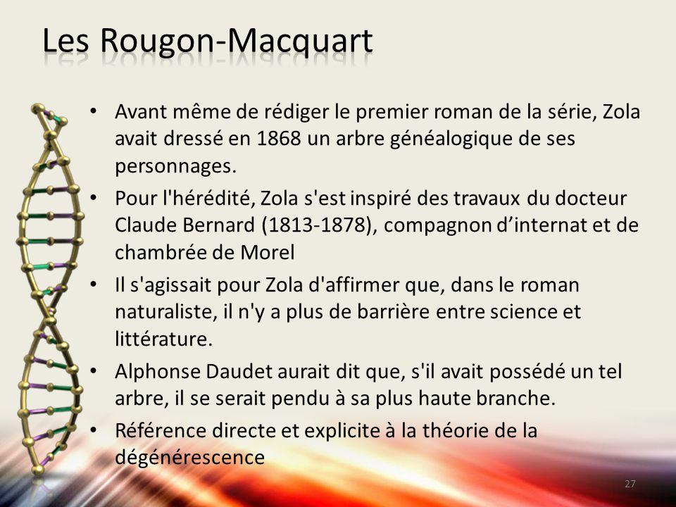 Les Rougon-Macquart Avant même de rédiger le premier roman de la série, Zola avait dressé en 1868 un arbre généalogique de ses personnages.