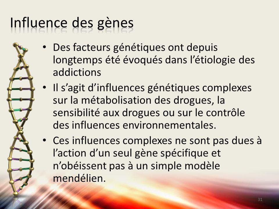 Influence des gènes Des facteurs génétiques ont depuis longtemps été évoqués dans l'étiologie des addictions.