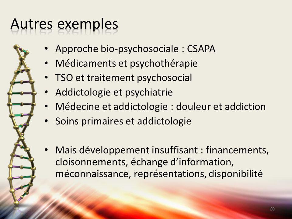 Autres exemples Approche bio-psychosociale : CSAPA