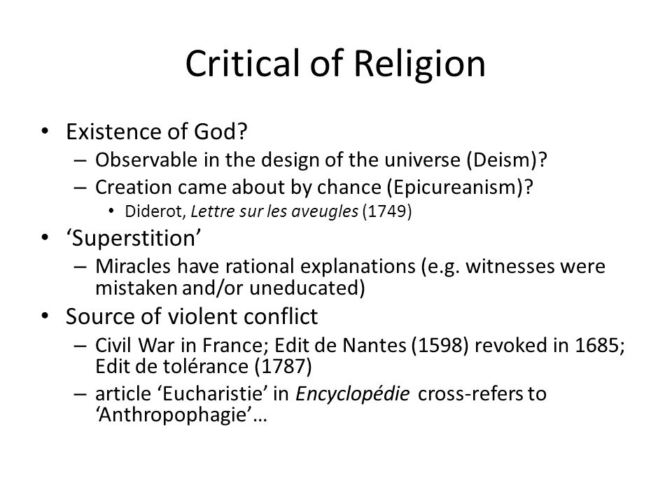 Critical of Religion Existence of God 'Superstition'