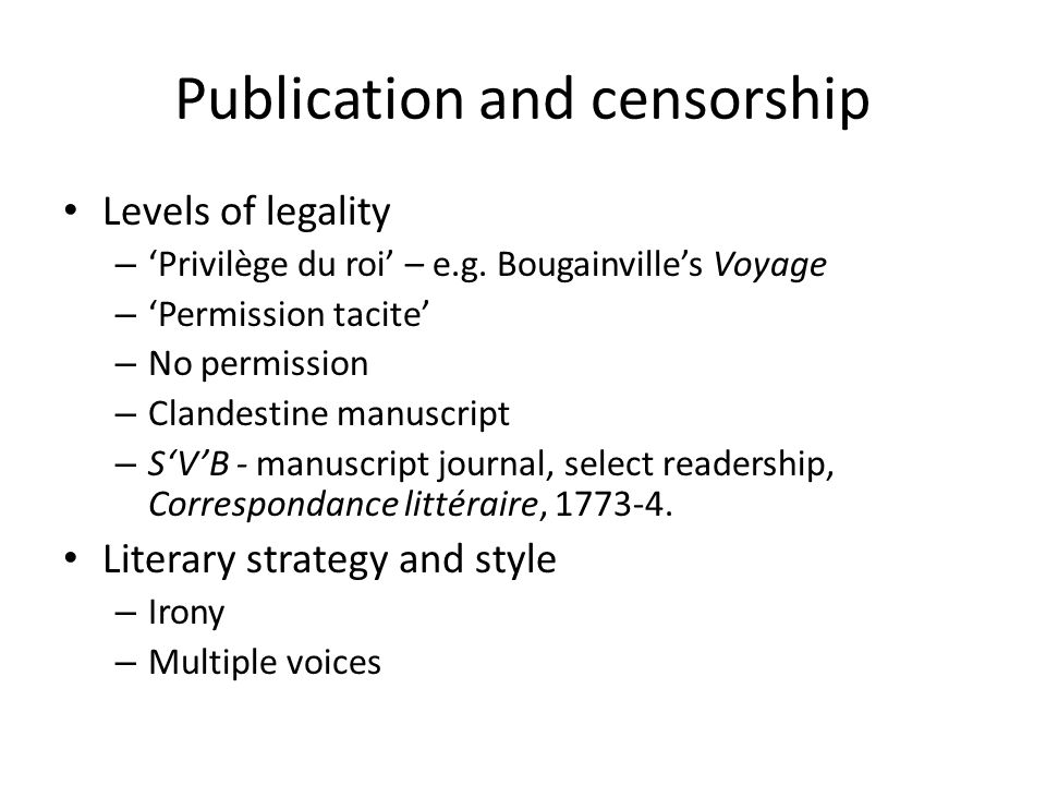 Publication and censorship