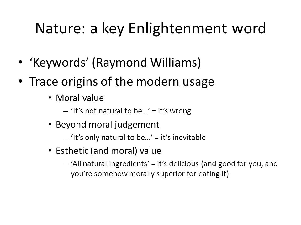 Nature: a key Enlightenment word