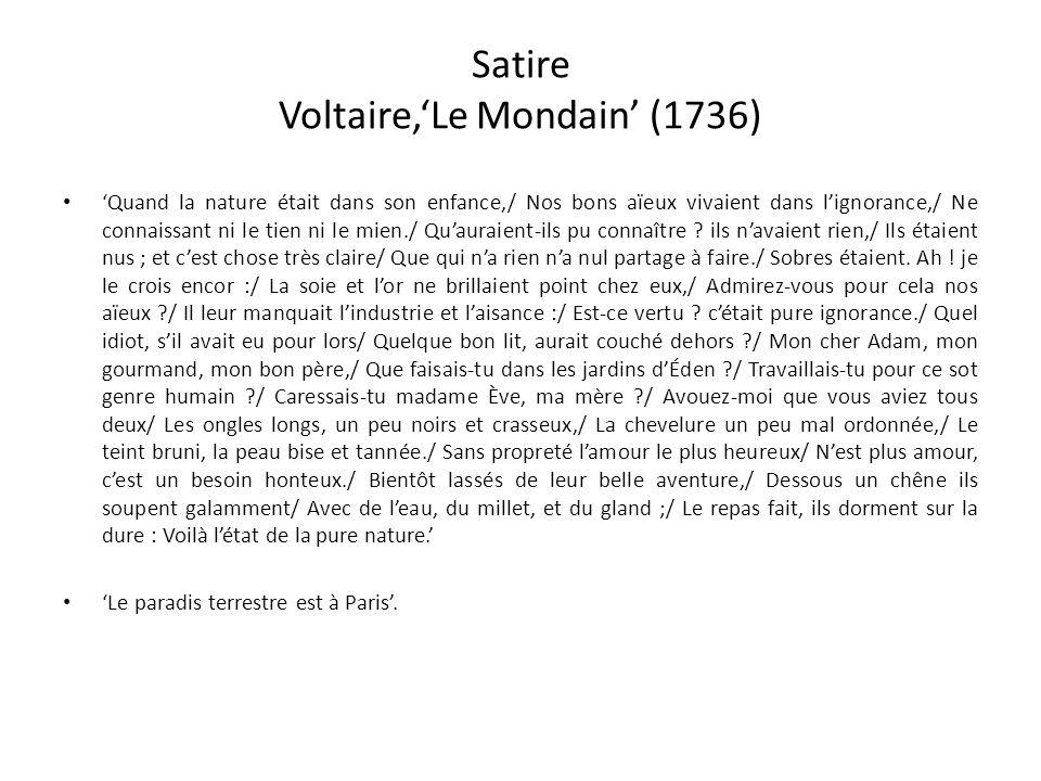 Satire Voltaire,'Le Mondain' (1736)