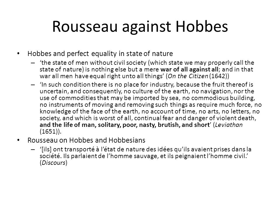 Rousseau against Hobbes
