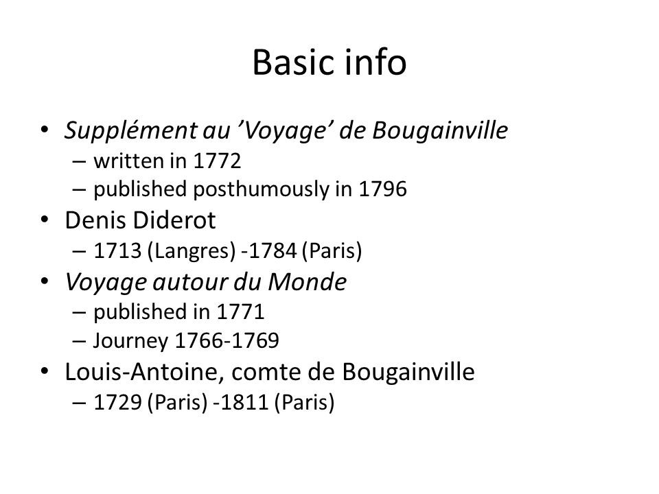 Basic info Supplément au 'Voyage' de Bougainville Denis Diderot
