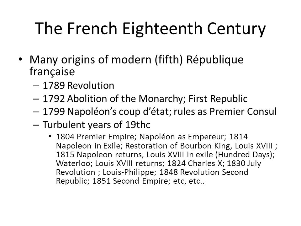 The French Eighteenth Century